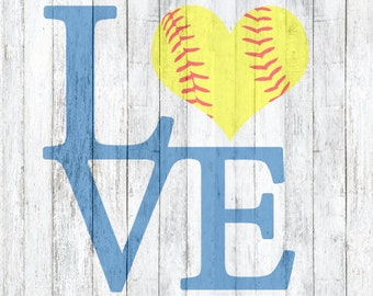 SVG File LOVE Softball, L O V E Softball,