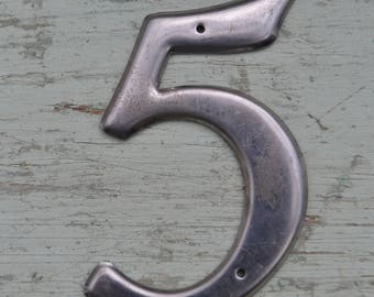 Vintage Silver Large Salvaged House Address Sign Number 5 Five