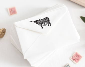 Longhorn Return Address Stamp, Personalized Rubber Stamp, Texas Stamp, Custom Farmer Stamp, Farmhouse Stamp, Farm Rubber Stamp