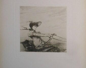 vintage art etching by ignaz marcel gaugengigl woman in carriage