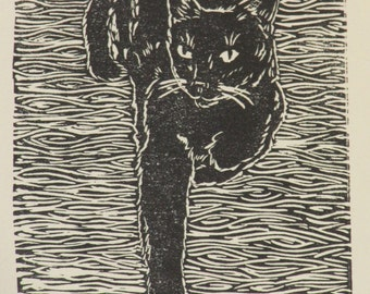 """Black cat block print, hand-pulled, limited edition print - """"Best foot forward"""""""