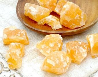 Orange Calcite Raw Stones - Rough Calcite - Healing Crystals and Stones - Rough Raw Stones - Reiki Crystals and Stones - Natural Calcite