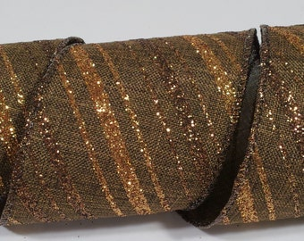 "2 1/2"" Canvas Glitter Stripes Ribbon - Brown - 10 Yards"