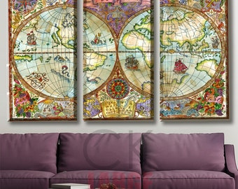 World Map, Wall Art Canvas, World Map Print, colorful world map, colorful map canvas, world art map, canvas home decor, gift traveler