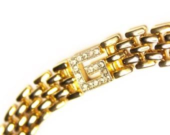 Gold Vintage Givenchy Bracelet W/ Crystal Accents
