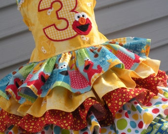 Made to Order Custom Boutique Sesame Street Birthday Dress Sizes 2 3 4 5 6 7 or 8