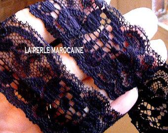 2 M Ribbon band lace elastic black h 30 MM Ribbon