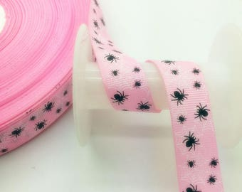 Large pink floral Ribbon made of polyester grosgrain Ribbon (x 1 meter)