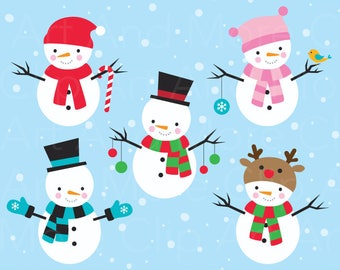 Snowman Clipart Clip Art Christmas Winter Clipart Clip Art Winter Christmas Decoration Scrapbooking - Personal and Commercial Use