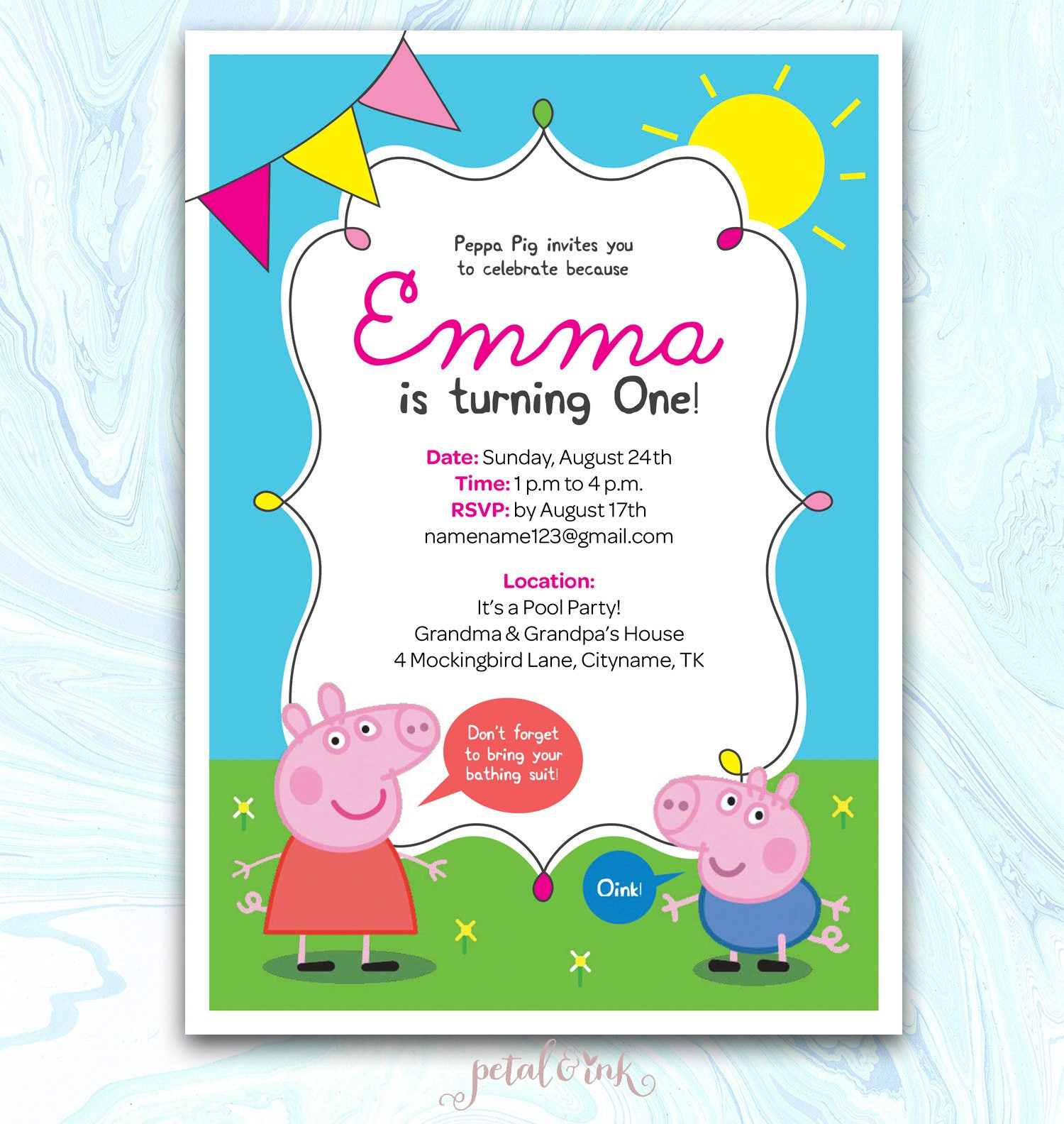 Peppa Pig Invitation Peppa Pig Birthday Invitation Peppa Pig