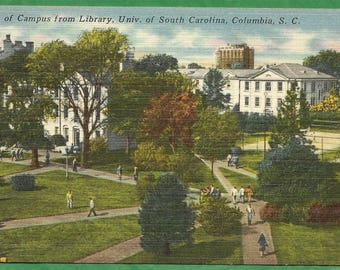 Vintage Linen Postcard - Campus View From the Library University of South Carolina in Columbia, South Carolina  (3254)