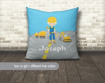 Construction Pillow, Kids Pillow with Construction Vehicles, Kids Name Pillow, Kids Name Cushion, Construction Bedding, Construction Theme