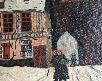 1930's Northern European PAINTING Jena, German medieval GATE European winter city scene