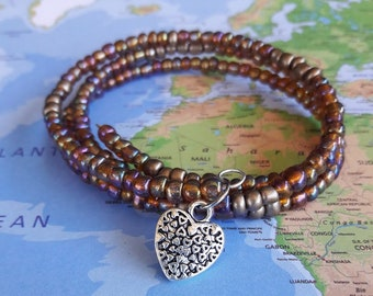Amber Iris and Matte Bronze Memory Wire Bracelet-Coil Bracelet-Cuff Bracelet