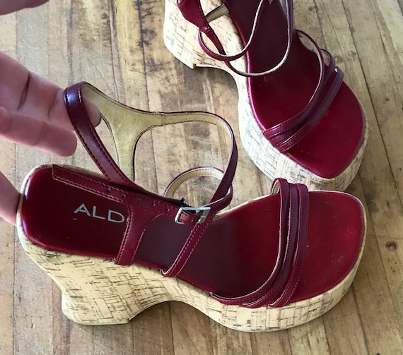 Sandal Vintage 7 Cork Shoes Vintage Size Wedge 7 Platform Shoes Ladies Shoes 5 Heel Red Retro Shoes Heel Leather 90s Fashion rqr0U7Sx
