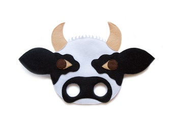 COW BULL Felt Mask - Farm Animal mask - Kids animal mask - Adult Bull mask - Cow costume - dress up accessory - carnival mask - pretend play