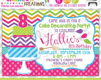 758: DIY - Cake Decorating 2 Party Invitation Or Thank You Card