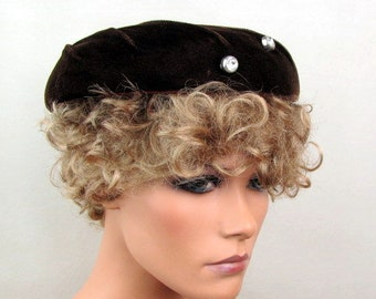Vintage 1950s Hat | Dark Brown Velvet | Turban Style Trim | Plastic Faux Rhinestone Silver Buttons | Small Hat | Plate Hat | 1957