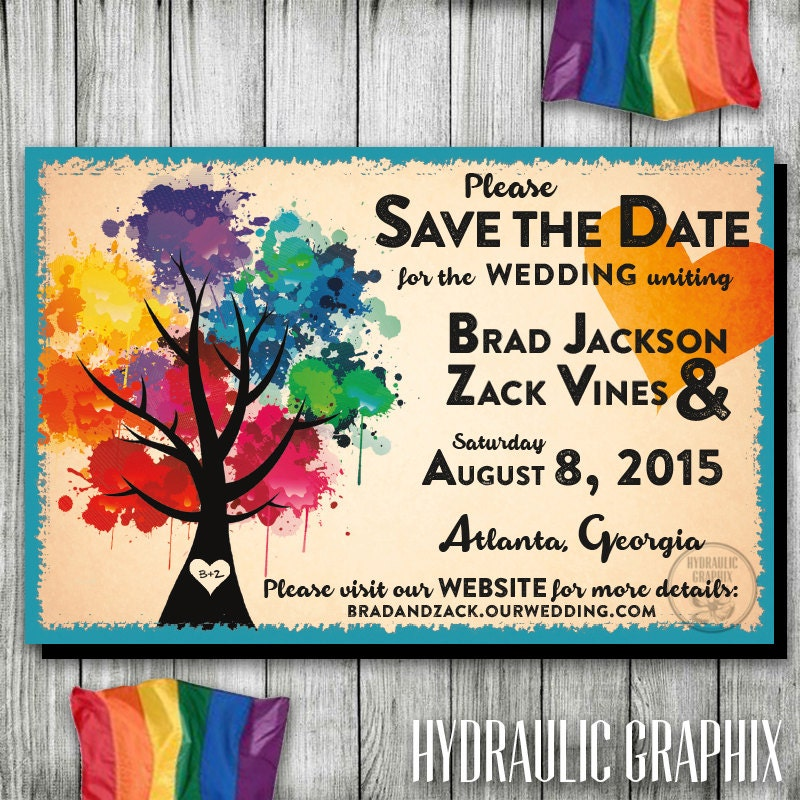 Rainbow Wedding Save the Date Gay Wedding Save the Date LGBT