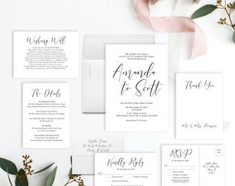 Editable Wedding Invitation Template INSTANT DOWNLOAD | Modern Wedding Invite Set Printable | Minimalist Invitation Suite | Simple | PDF diy