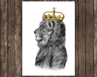 Löwe-Krone - Löwe König Kunstdruck, Löwe Drucken Poster - Löwe-Kunst, Wandkunst, Wand hängend
