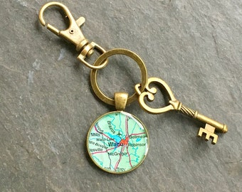 Waco Keychain Bronze with Ring Swivel Clasp and Key Vintage Texas Map McGregor