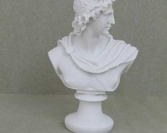 Apollo God Of Music Poetry Art Alabaster Stone Bust Head Statue Sculpture 5.9""