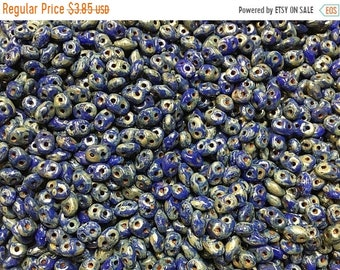 ON SALE Blue Picasso Czech Pressed Glass Super Duo Two Hole Seed Beads 2.5mm x 5mm 12 grams