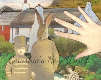 NEW to Print -  The Guardian of Jubal's Creek - Anthropomorphic Collage Print, Mixed Media, Rabbit, FairyTale Art