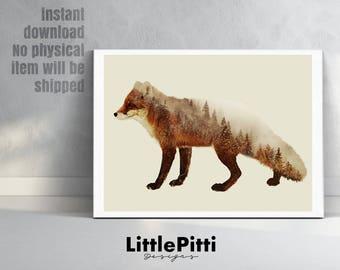 Fox print, double exposure, fox art, animal print, fox decor, digital download, woodland animals, woodland creatures, fox wall art, fox gift
