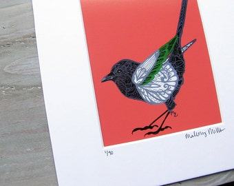 Zentangle Magpie Art Print -  Limited Edition