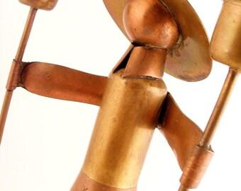 Vintage Copper & Brass Double Candle Holder Lady Tlaquepaque Cobre Mexico