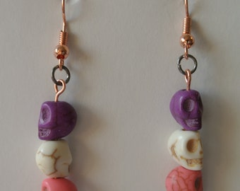 Small Pink, White and Purple Skull with Rose Gold Fishhook