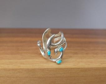Vintage Turquoise Danish Scandinavian Sterling Silver Ring