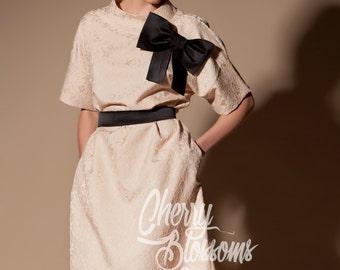 Pale Pink dress/ Lace dress/ Midi dress/Mid length dress/ Elegant dress/ Plus size dress/ Spring dress/Homecoming dress/Formal dress/024.214