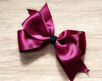 Maroon/ Wine/ Satin Hair Bow