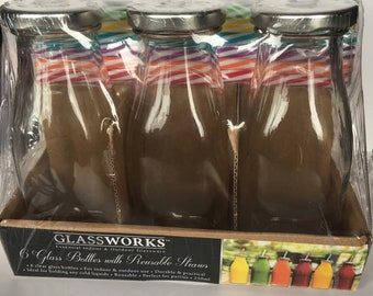 6 Glass Bottles with Reusable Straws
