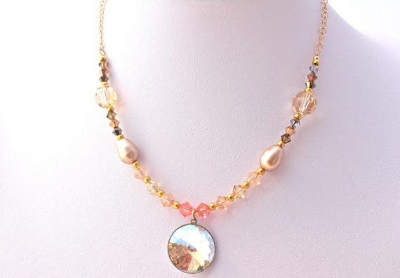 wedding necklace golden plated with cabochon, pearls and beads s