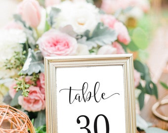 Wedding Table Numbers Printable , Wedding Table Numbers, Table Number Cards 1-30, Table Numbers, Calligraphy Table Numbers, Instant Download
