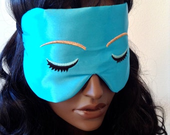 Silk Eye Mask Sleep Mask, Audrey Hepburn Style, Holly Golightly, Fully Adjustable Velvet Elastic, Padded & Light Darkening, Anti-Aging