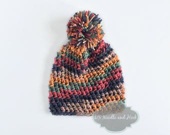 Blue, Yellow, Green and Red Crochet Hat, Crochet Beanie, Winter Hat with Pompom, Tectured Ski Cap, Crochet Hat