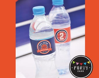 Basketball water bottle labels - basket ball water bottle label - water sticker - basketball water sticker - basketball party label