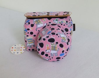 camera bag pink dog Personalized Camera Cases Strap  Embroidered DSLR Nikon, Sony, Canon Accessories Custom Photography Gift