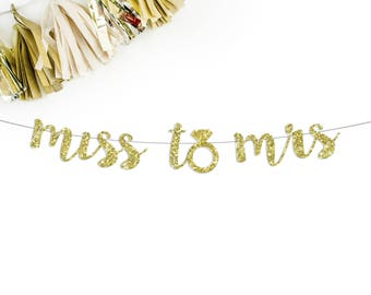 Miss To Mrs Cursive Banner | bachelorette party banner | bridal shower | bride tribe | wedding banner | bride to be | photo prop
