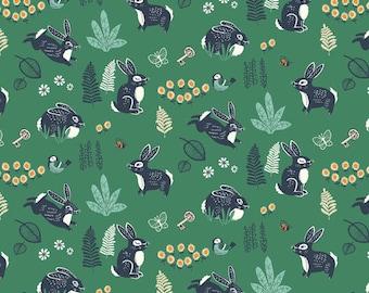 Bunny Hop Green Poplin For The Hidden Garden Collection Birch Organic Fabrics, Sustainable Low Impact Dye Cotton Fabric