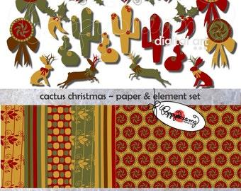 Cactus Christmas Paper and Elements SET: Digital Scrapbook Paper Pack (300 dpi) Borders Chili Peppers Cactus Jackelope