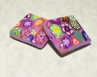 Handmade Polymer Clay Square Flower Beads
