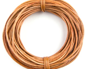 Tan Round Leather Cord 3mm 3 meters (3.28 yards)