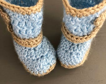 Baby blue and tan 0/3 months baby Cowboy Booties