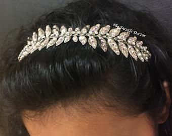 Bridal headband, Swarovski headband, Wedding headband, Silver leaf headband, Bling headband, Hair accessory,Goddess headband,Hair bling
